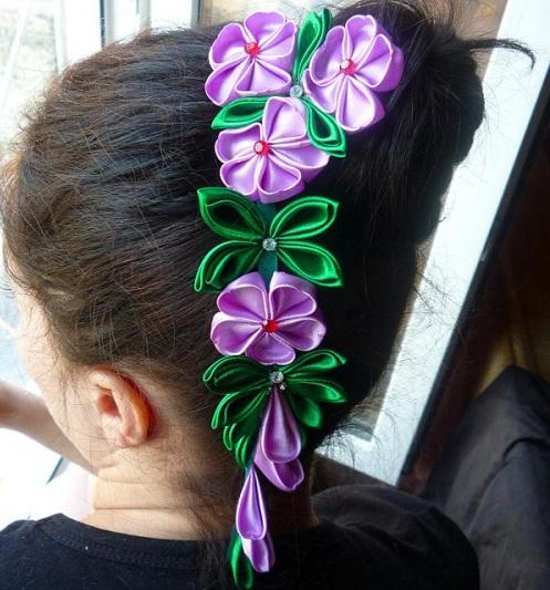 канзаши в волосах Цветы из лент канзаши –техника изготовления