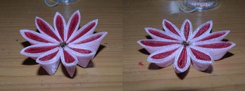 собранный цветочек Цветы из лент канзаши –техника изготовления