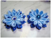цветок с бусинкой  Цветы из лент канзаши –техника изготовления